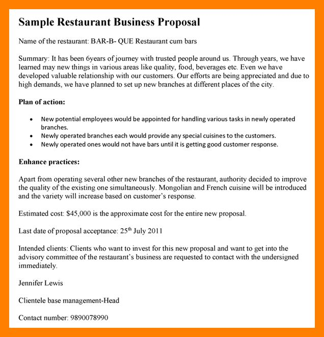 6+ business proposal letter for restaurant | army memo format
