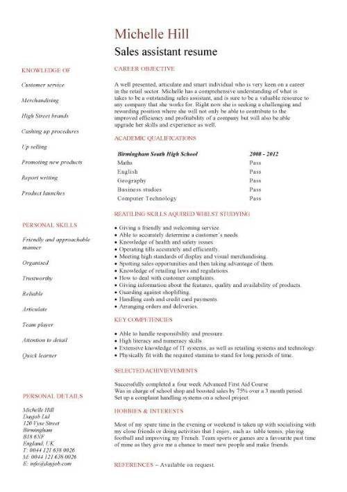 Student Resume Sample | jennywashere.com