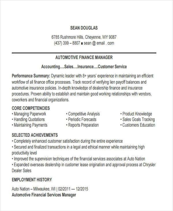 automotive finance manager resume professional auto finance