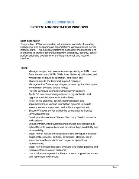 System Administrator Windows Job Description - Template & Sample ...