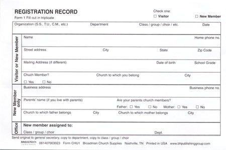 church membership form pdf