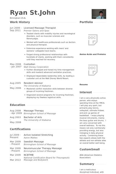 Massage Therapist Resume samples - VisualCV resume samples database