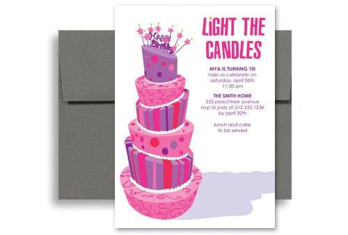 Purple Girls Party Birthday Invitation Samples 5x7 in. Vertical ...