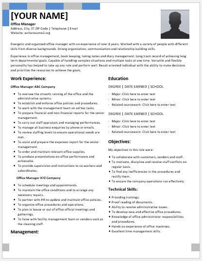 Resume format for administrative manager