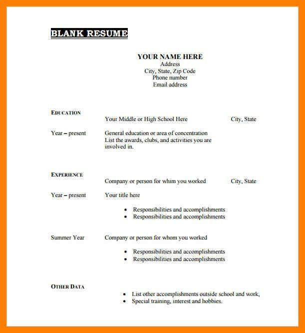 Blank Cv Template. Blank Cv Template Printable-Blank-Resume ...