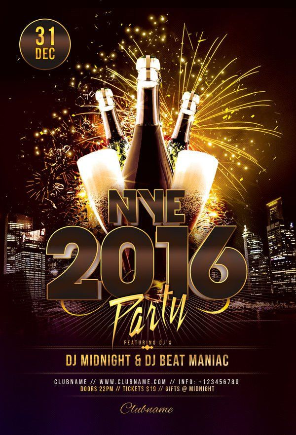 NYE 2018 Party Flyer | Party flyer