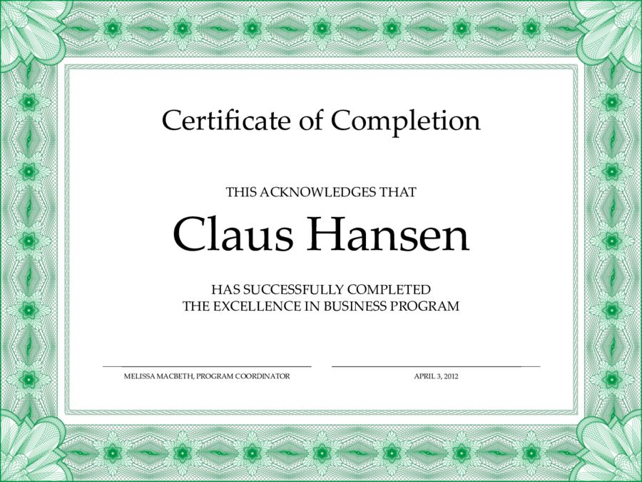 Certificate of Completion - Free Certificate of Completion ...