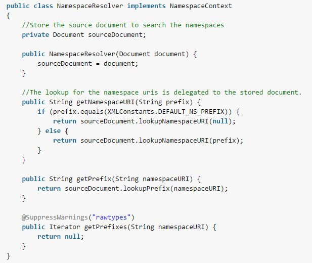 Java XPath NamespaceContext - NameSpace Resolution Example
