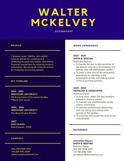 Royal Blue Modern Resume - Templates by Canva