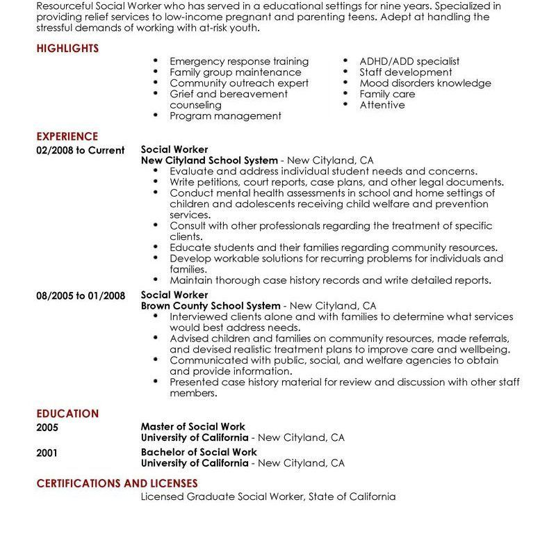Sumptuous Resume For Social Worker 1 Best Social Worker Resume ...
