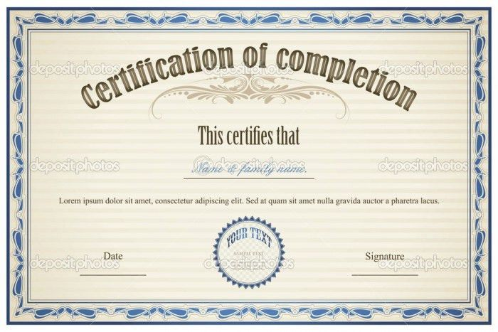 Completion Template Word Free | Certificate Templates