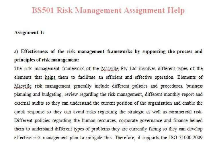 BS501 Risk Management Assignment Help   OZ Assignment Help