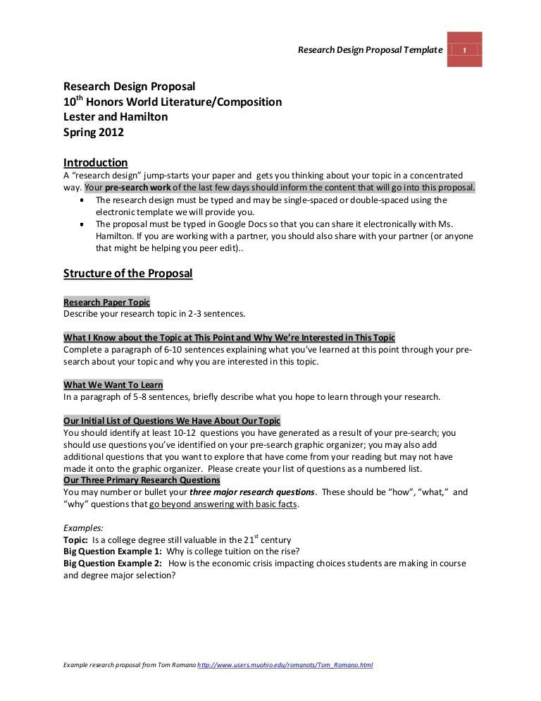 OFFICIAL Research Design Proposal Template and Guidelines Lester and …