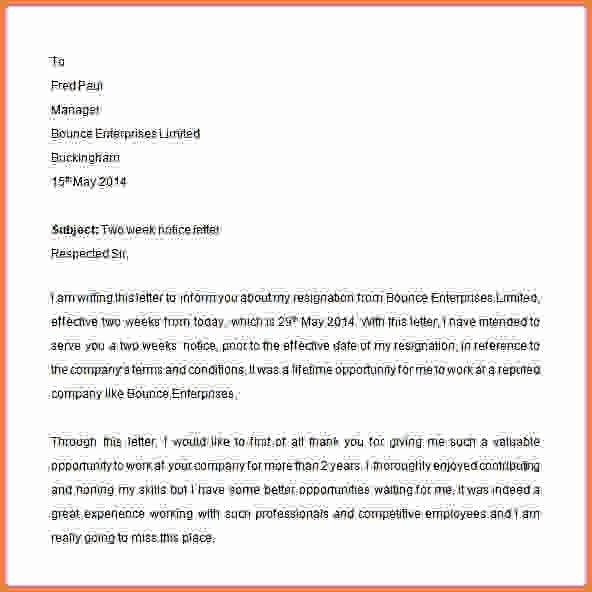 Two Weeks Notice Sample Letter.resignation Letter Example Two ...
