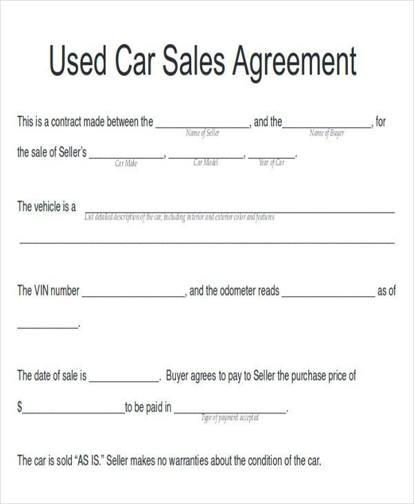 Sample Automobile Sales Contracts - 8+ Examples in Word, PDF