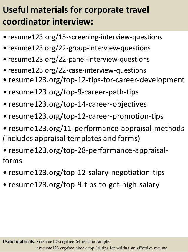 Top 8 corporate travel coordinator resume samples