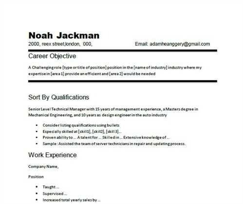 resume objective samples resume objectives for high school ...