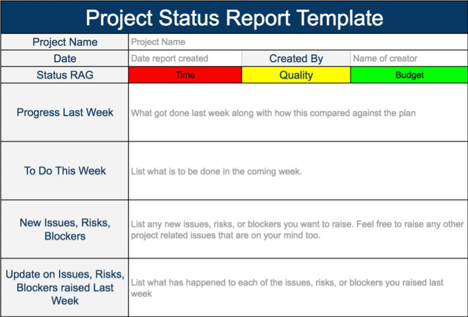 Project Status Report Template - Expert Program Management