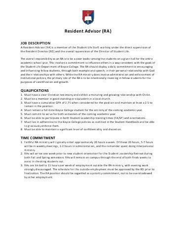 College Resident Advisor Resume Sample. best admissions counselor ...