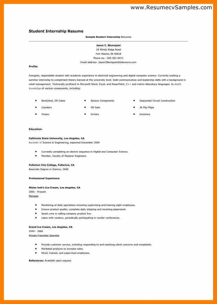 7+ cv sample for internship | hostess resume