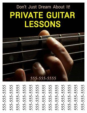 Guitar Lesson Tear Off Flyer Templates | PageProdigy – Print for $1