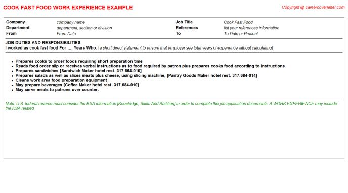 Fast Food Cook CV Work Experience Samples