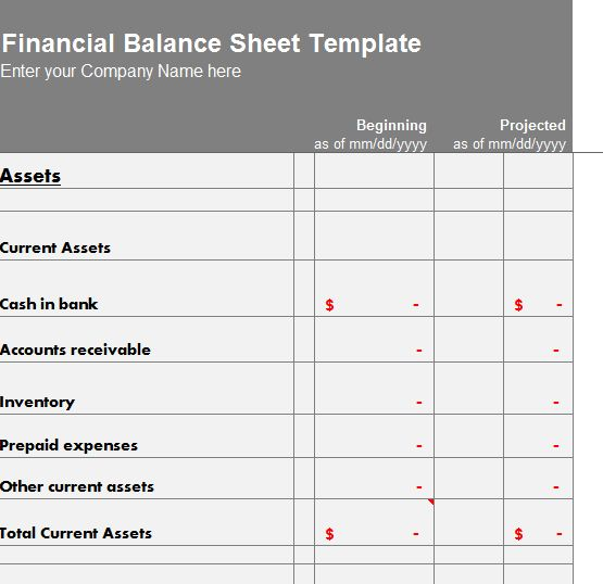 Financial Balance Sheet Template - My Excel Templates