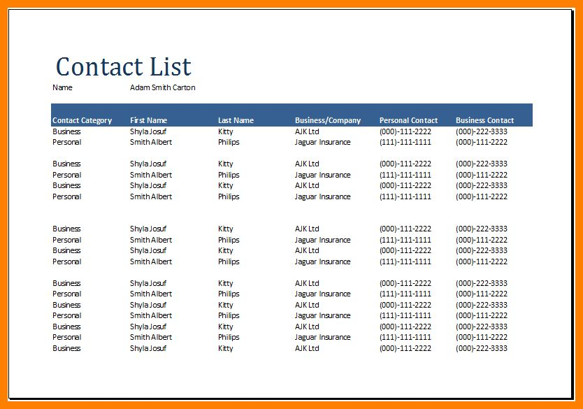8+ contact list template excel | lease template