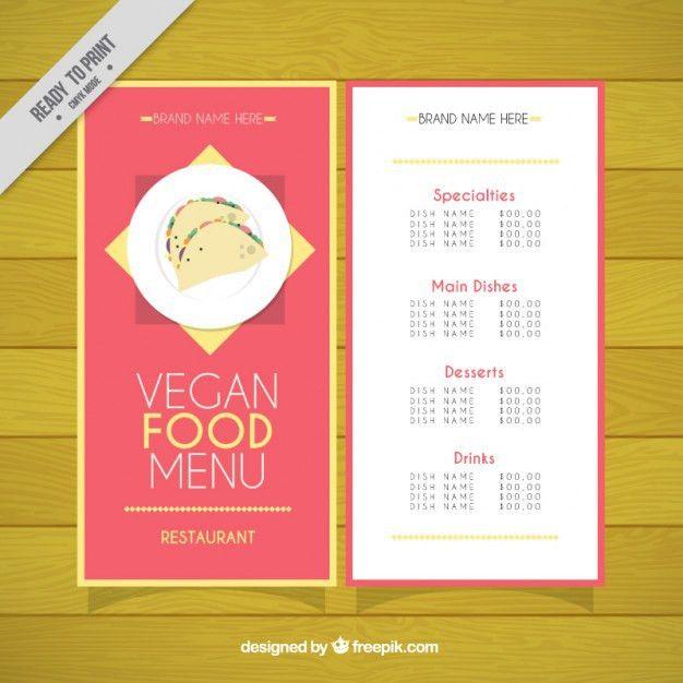 Vegan restaurant menu template Vector | Free Download
