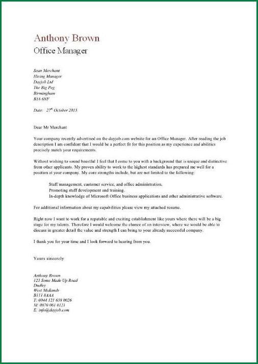 11 Office Manager Cover Letter | applicationsformat.info