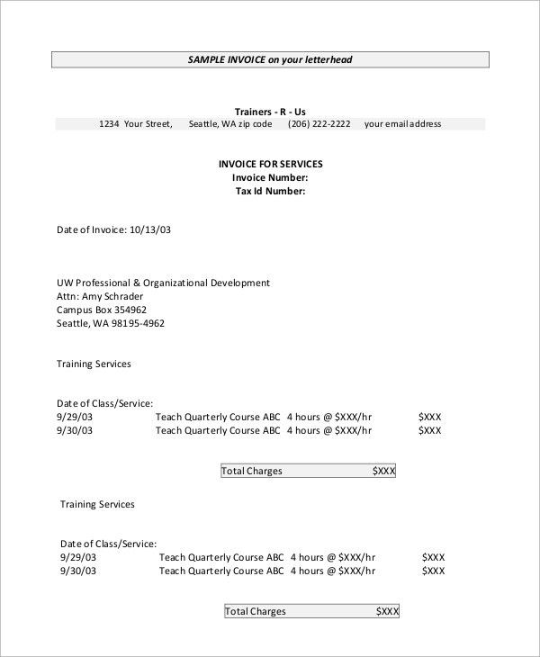 Invoice Sample - 8+ Examples in PDF, Word