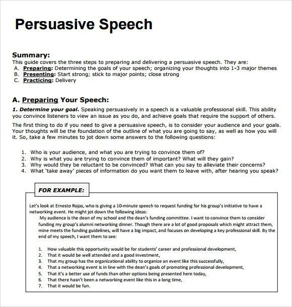 Sample Persuasive Speech - 7+ Documents in PDF
