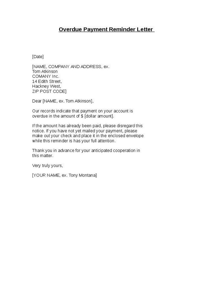 Payment Reminder Business Letter | Create professional resumes ...