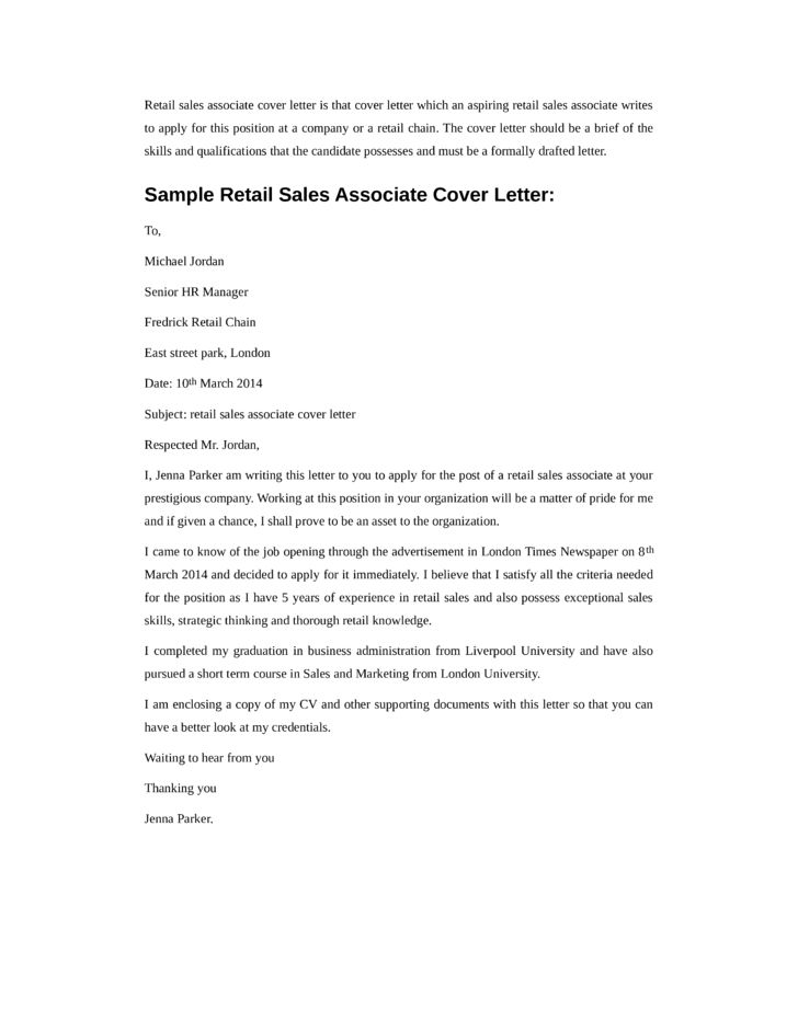 Basic Retail Sales Associate Cover Letter Samples and Templates