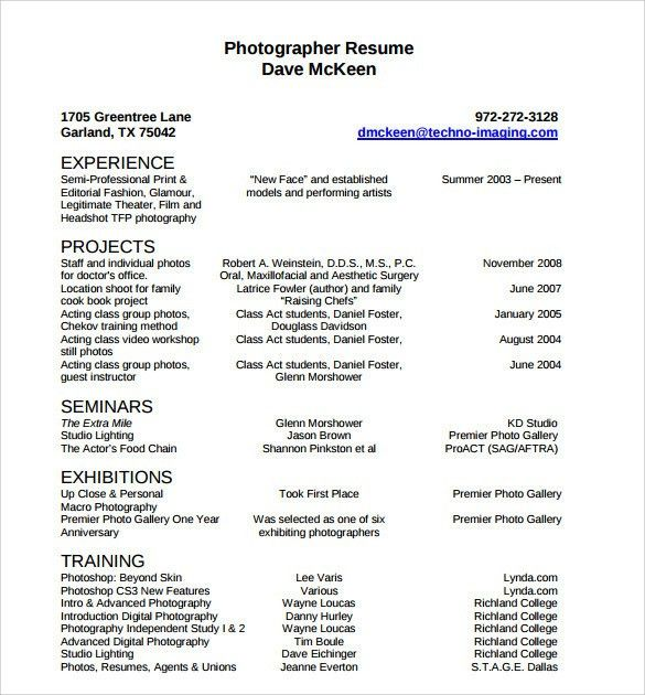Professional Photographer Resume Sample. cool design videographer ...