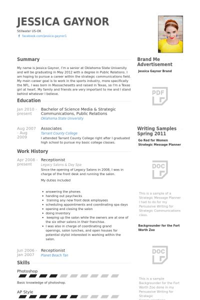 Reception Resume samples - VisualCV resume samples database