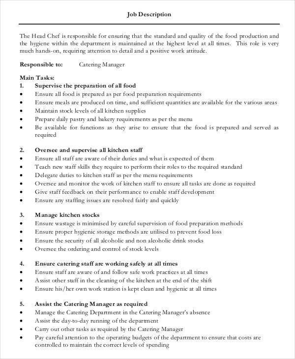 9+ Cook Job Description Template - 9+ Free PDF Documents Download ...