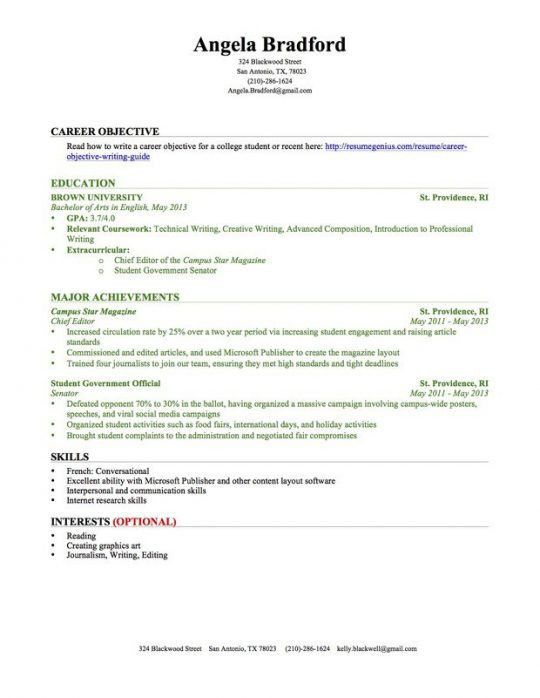 Student Resume | Free Resumes Tips