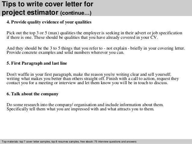 Project estimator cover letter