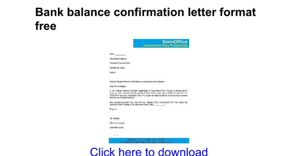 Bank balance confirmation letter format free - Google Docs