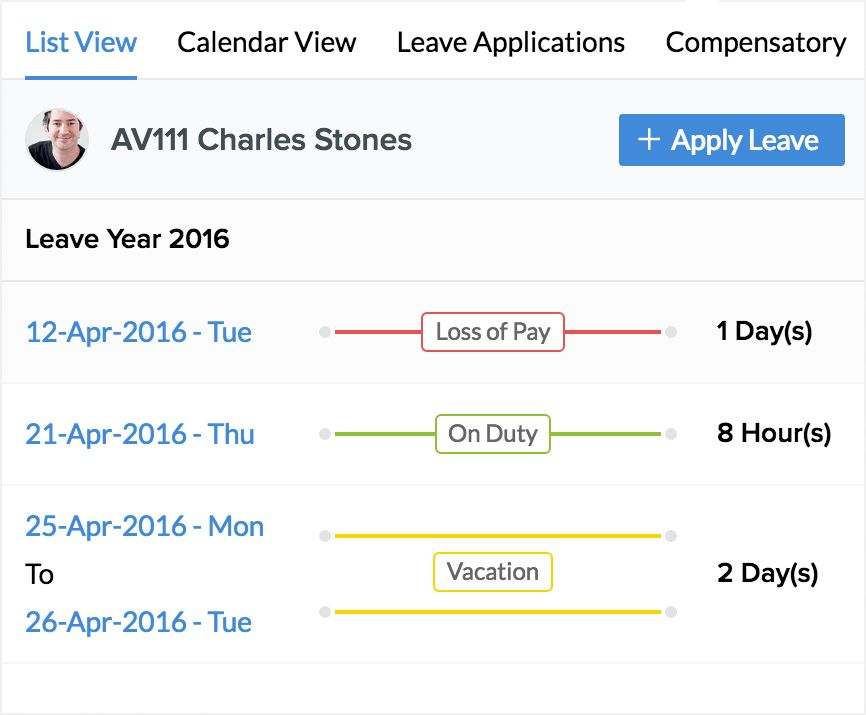 Leave Management Features - Zoho People