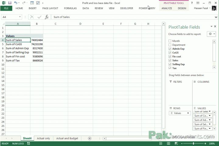Making Profit and Loss Statements in Excel using Pivot tables ...