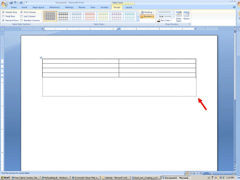 Creating a Table in Word (2007 Word Version)
