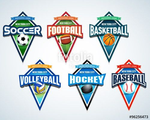 Sport team logo emblems, badge, pennants, t-shirt apparel design ...