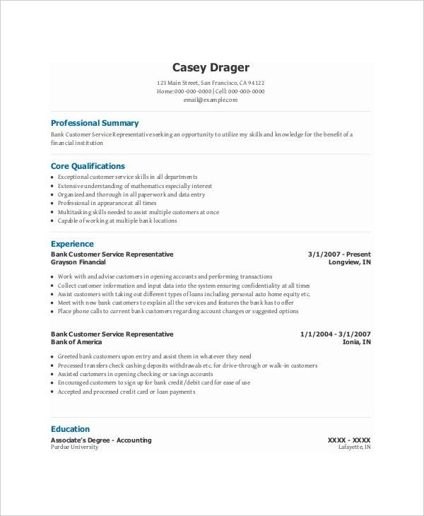 Free Banking Resumes - 43+ Free Word, PDF Documents Download ...