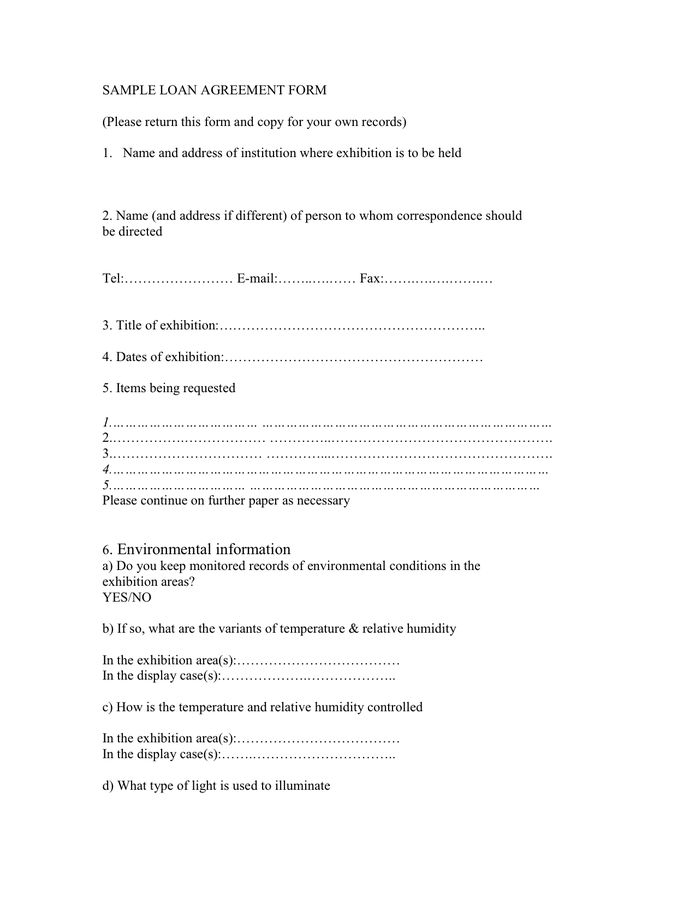 Loan Agreement Template - download free documents for PDF, Word ...