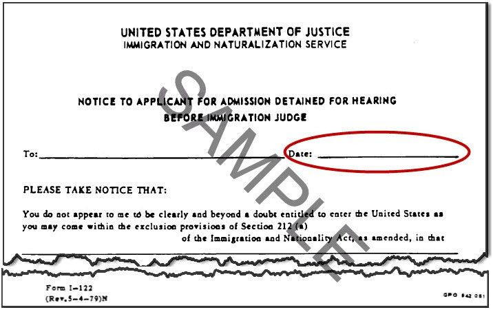 INS Notice to Applicant for Admission Detained for Hearing before ...