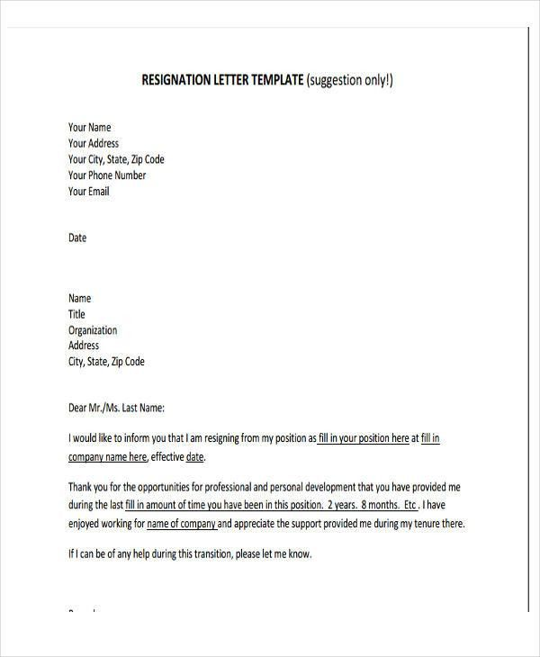 Free Download Resignation Letter Format In Word | Professional ...