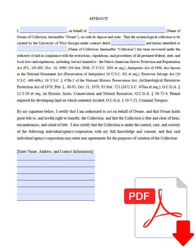 Very General Form Sample for Affidavit Featuring Contact ...