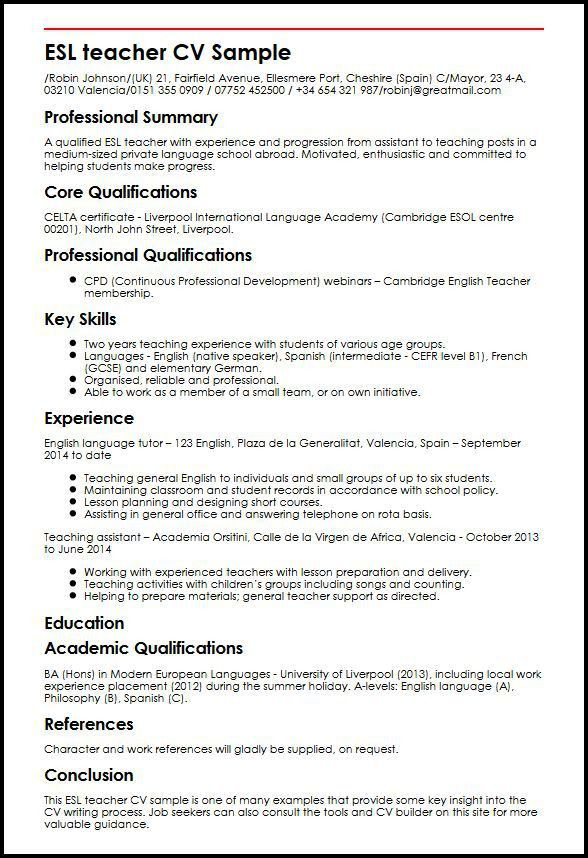 ESL Teacher CV Sample | MyperfectCV  Esl Resume